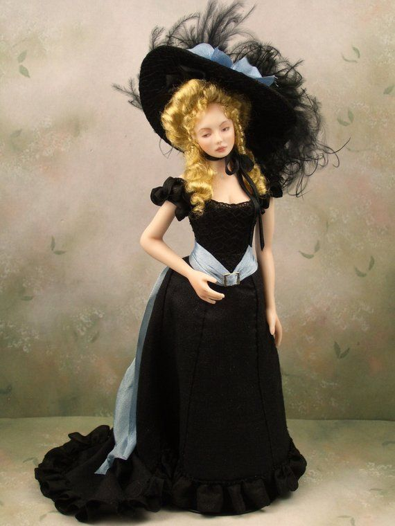 1 12th Scale Ooak Dollhouse Miniature Porcelain Victorian Edwardian Era Young Woman Doll Sabrina By Terri Davis Miniatures Women Victorian Dress