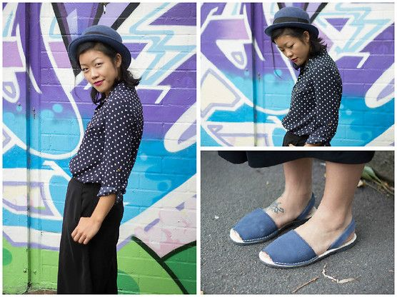 Get this look: http://lb.nu/look/7246474  More looks by Margaret Ye: http://lb.nu/user/1098827-Margaret-Y  Items in this look:  Tokito Top, Marcs Culottes, Alohas! Sandals   #casual #street #polkadot #autumn #sydney #culottes #sandals