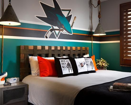 Bed Room, Incredible Hockey Themed Bedroom Using White Bed And Black Blanket Also Green White Wall And Also With The Modern Styles Of The Hockey Themed In The Bedroom With The Colorful Cushion And Wooden Headboard Guys ~ Decoration That You Can Put To Your Hockey Themed Bedroom