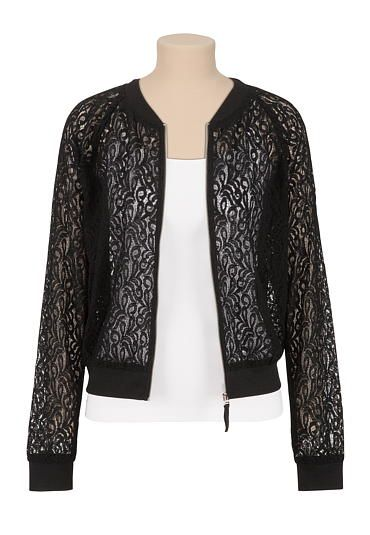 Lace zip front baseball jacket (original price, $34) available at #Maurices