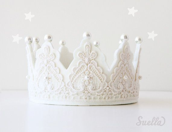 Creamy Lace on Creamy ivory Felt Couture Crown with pearls Girls Party