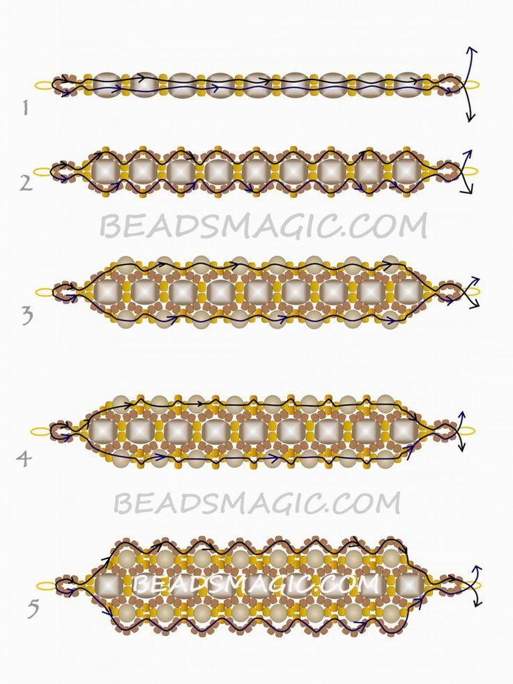 FREE Beaded Pattern for Bracelet DARK HONEY | Beads Magic#more-9546. Use: seed beads 11/0 and 8/0, faceted crystal beads 6mm, pearls 4mm. Page 2 of 2