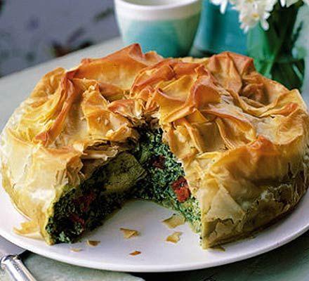 Spinach & artichoke filo pie | Recipe