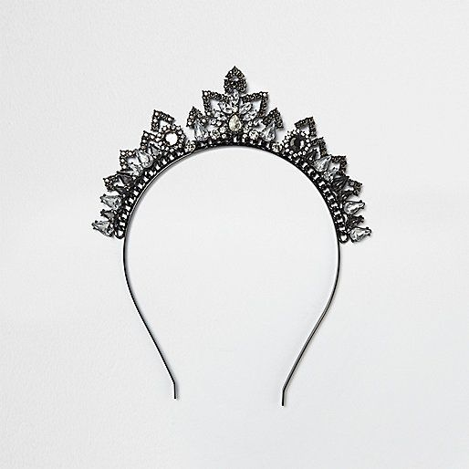 Dark silver embellished tiara - body jewellery / harnesses - jewellery - women