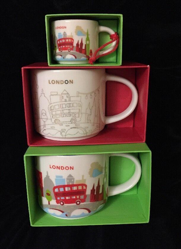 Starbucks London Mug Ornament Set YAH Christmas Big Ben Cup Holiday You Are Here #Starbucks