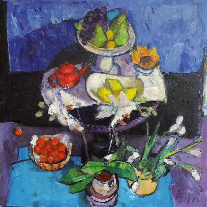 Archie Forrest - Gueridon with Orchids, Fruit and Tulips