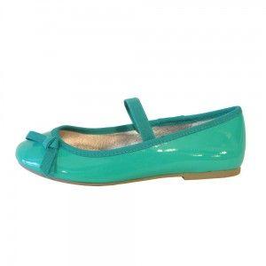 Zapatos niñas tipo bailarina charol verde agua Mayoral