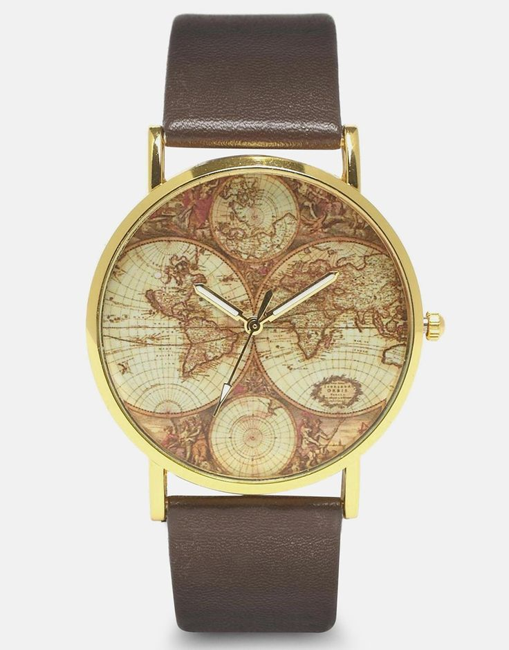 Image 1 of Reclaimed Vintage World Map Brown Strap Watch