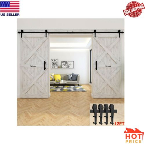 Faithland 12ft Sliding Barn Door Hardware Track Kit 12 Foot Rail Kit One New Faithland Barn Door Hardware Sliding Barn Door Hardware Door Hardware