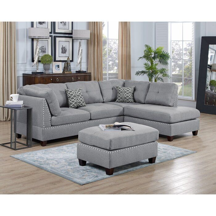 Gorski Reversible Sectional With Ottoman Grey Sectional Couch Sectional Grey Sectional