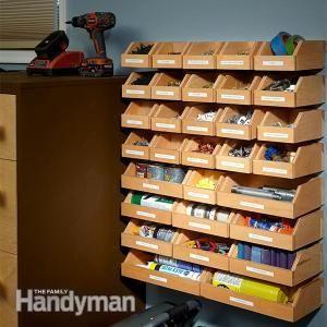 Garage Shelving Plans: Hardware Organizer - get the #DIY #plans: http://www.familyhandyman.com/workshop/storage/garage-shelving-plans-hardware-organizer/view-all