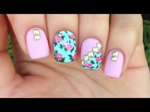 Hermosas uñas con flores y accesorios - Nail Art Tutorial  Vintage Floral - YouTube