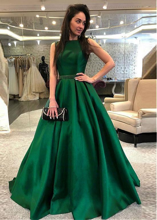 210b112c4f1a Satin Bateau Green Beading Floor-length A-line Evening Dress | Cheap ...