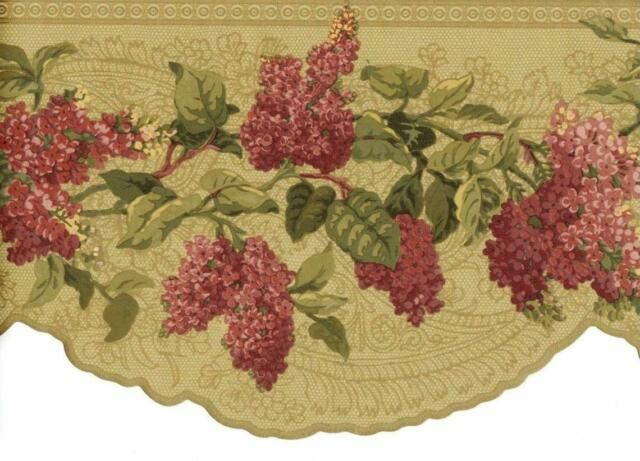 Victorian Gold Lace With Scalloped Burgundy Pink Floral Leaves Wallpaper Border For Sale Online Leaf Wallpaper Wallpaper Border Gold Metallic Wallpaper