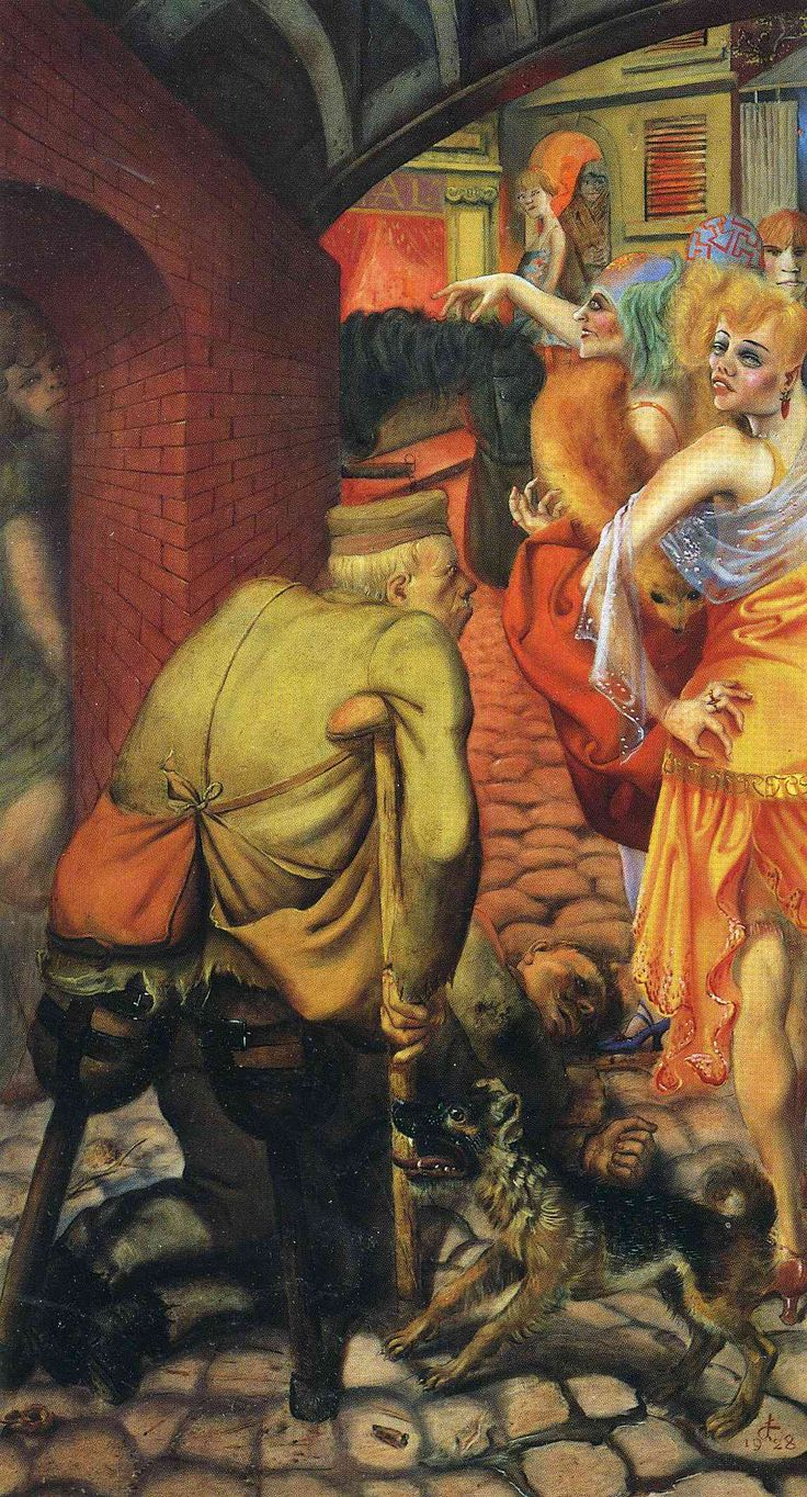 Otto Dix, Weimar Berlin, 1928. Dix was a scarey guy. Showing the post-war decadence that made many of Hitler's obscenities easier for the non-reasoning public to swallow.