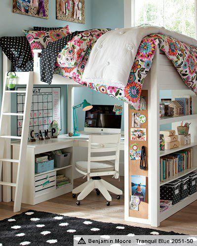 older kid bed with desk underneath
