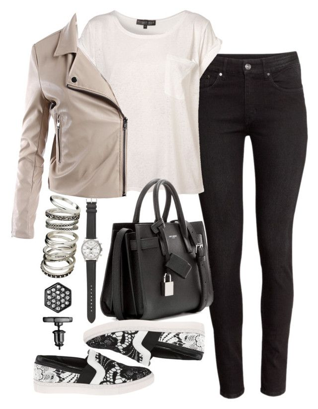 """""""Untitled #2102"""" by sarah-ihab ❤ liked on Polyvore featuring H&M, Steve Madden, Sans Souci, Yves Saint Laurent, J.Crew and Simply Vera"""