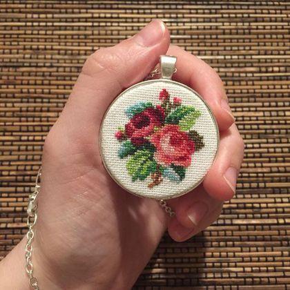 Купить Кулон подвеска Две Викторианские Розы Шебби - шебби-шик, винтаж, ретро…