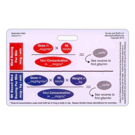 Medication Titration Badge Card Reference Horizontal for Nurse Paramedic EMT for ID Badge Clip Strap or Reel