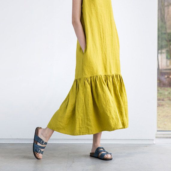 Drop ruffle maxi linen dress. Washed and soft linen dress in