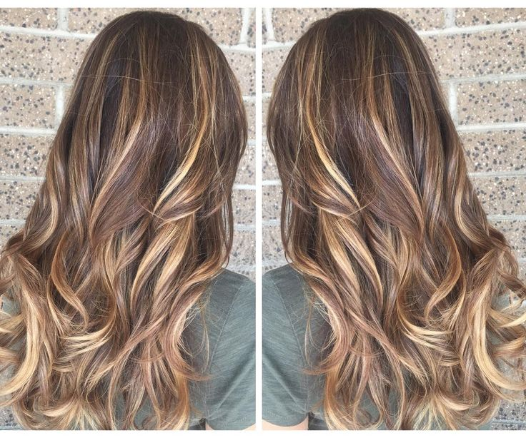 Wavy Layered Chestnut-Brown Hair with Golden-Blonde Balayage