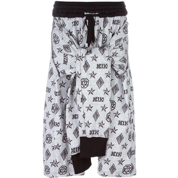 KTZ monogram tied up shorts (£275) ❤ liked on Polyvore featuring men's fashion, men's clothing, men's shorts, white, mens white cotton shorts, mens tie dye shorts, mens cotton shorts and mens white shorts