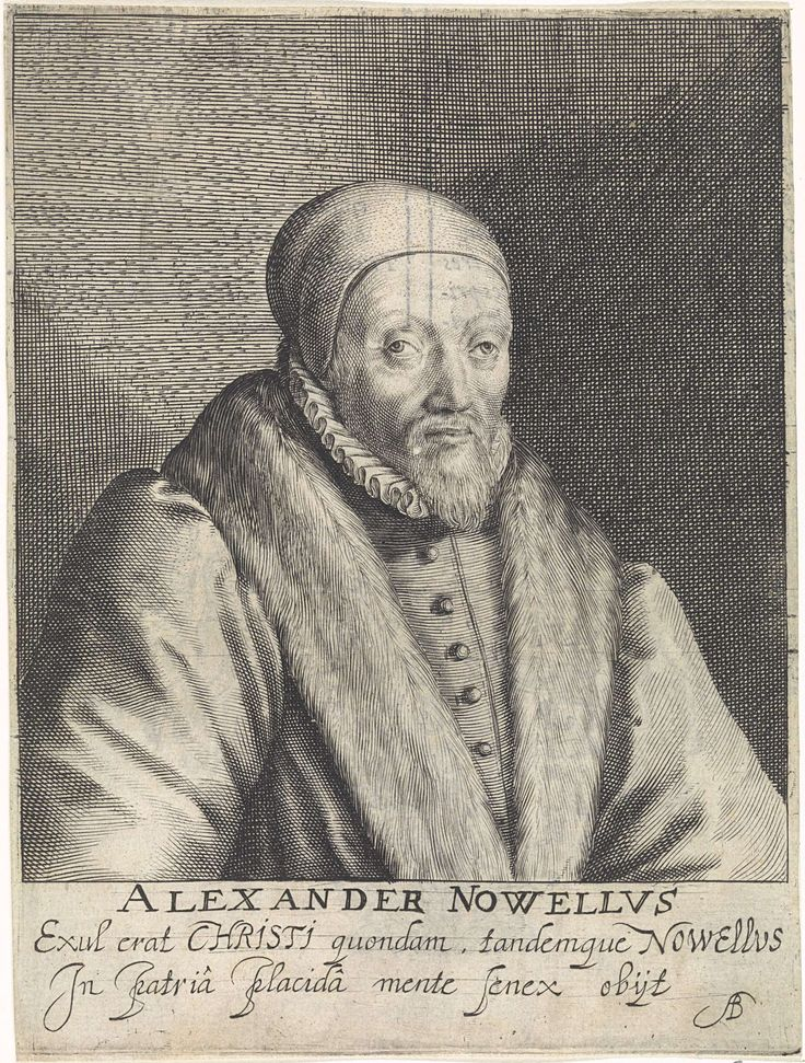 Crispijn van de Passe (I)   Portret van Alexander Nowell, Crispijn van de Passe (I), Arnoldus Buchelius, 1620   Portret van de theoloog Alexander Nowell. Hij was deken bij de St. Paul kathedraal in Londen. In de marge de naam van de geportretteerde en een tweeregelig onderschrift in het Latijn.