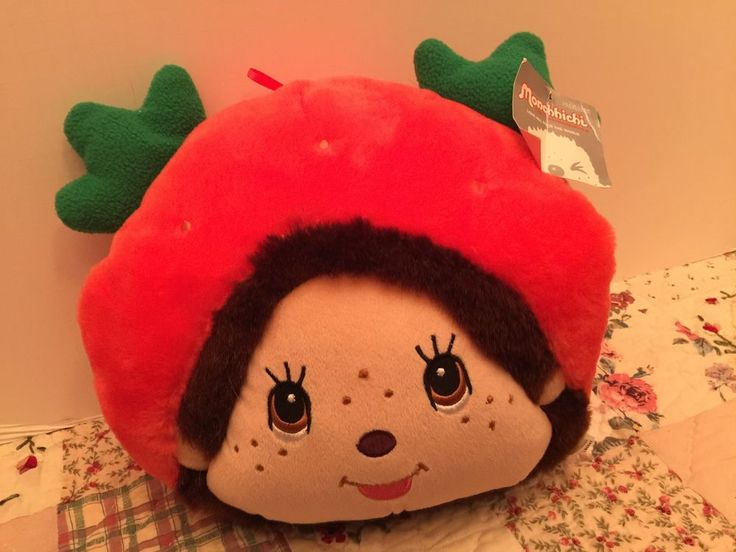 Monchhichi Girl Strawberry Plush Head Pillow Muff NWT
