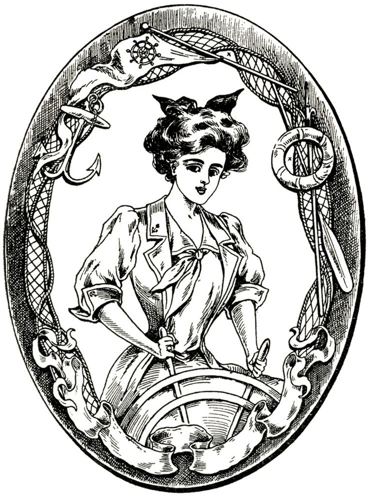 Vintage Sailor Lady Image - Gibson Girl! Nautical- The Graphics Fairy