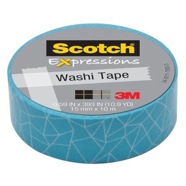 3M Scotch cracked washi tape (15 mm x 10 m)     3M Scotch Expressions washi tape is een vrolijke tape geschikt voor decoratie- en hobbyprojecten. Deze blauwe masking tape met cracked patroon is beschrijfbaar met pen, markeerstift en potlood. Hij plakt uitstekend op bijna elk materiaal en is te verwijderen zonder lijmresten achter te laten.