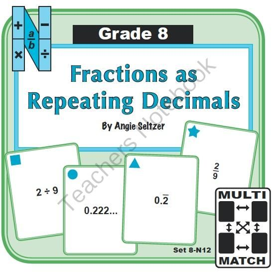 Multi-Match Game Cards 8N: Fractions as Repeating Decimals from K-8 MathPaths on TeachersNotebook.com -  (10 pages)  - This set of printable Multi-Match game cards helps students become fluent with writing fractions as repeating decimals in two forms. This set aligns with CCSS 8.NS.1.