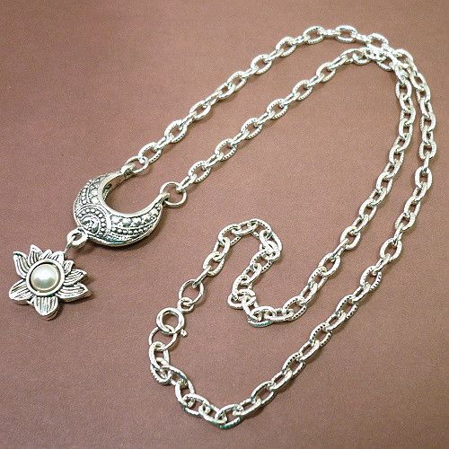 White Lotus Flower Crescent Pendant on Textured Silver-plated Chain