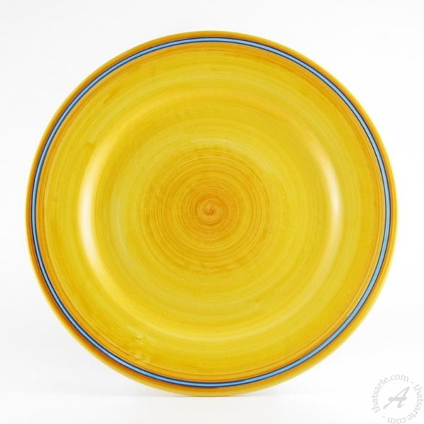 Yellow and blue dinner plate by D&G Design Deruta