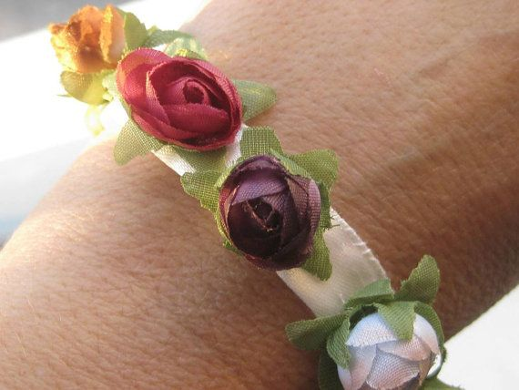 Hippie Floral Bouquet Custom make ribbon  bracelet by mariapsaltis
