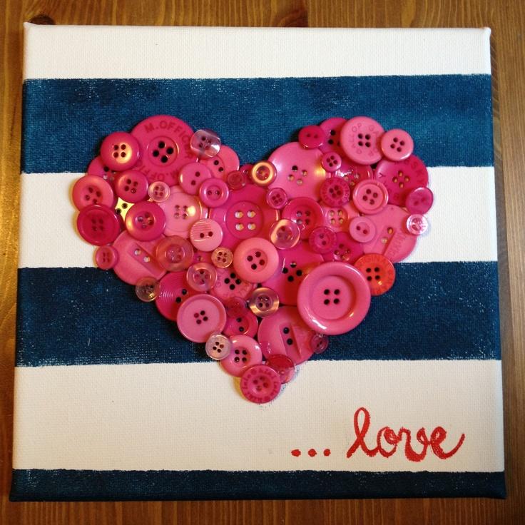 Knoflíčkové srdce s pruhy plátno 20x20  Buttons