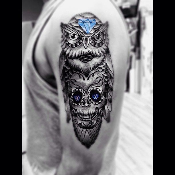 17 best images about tattoo ideas and places to go on for Owl with sugar skull tattoo