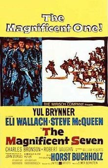 The Magnificent Seven is a 1960 American western film directed by John Sturges. It is a western-style remake based on Akira Kurosawa's 1954 Japanese film Seven Samurai. The film stars Yul Brynner, Steve McQueen, Charles Bronson, James Coburn, Robert Vaughn, Brad Dexter, and Horst Buchholz who play a group of seven American gunmen who are hired to protect a small agricultural village in Mexico from a group of marauding native bandits. The film's musical score was composed by Elmer Bernstein.