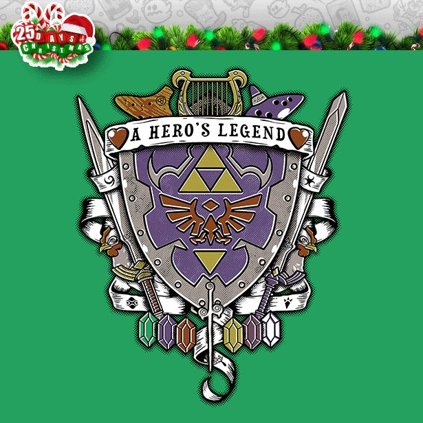 """""""A Hero's Legend Crest"""" by Arinesart is $10 today at ShirtPunch.com (12/7). #tshirt #TheLegendOfZelda #Link #Hyrule"""