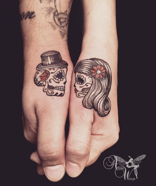 sugar skull couple tattoo - Google zoeken