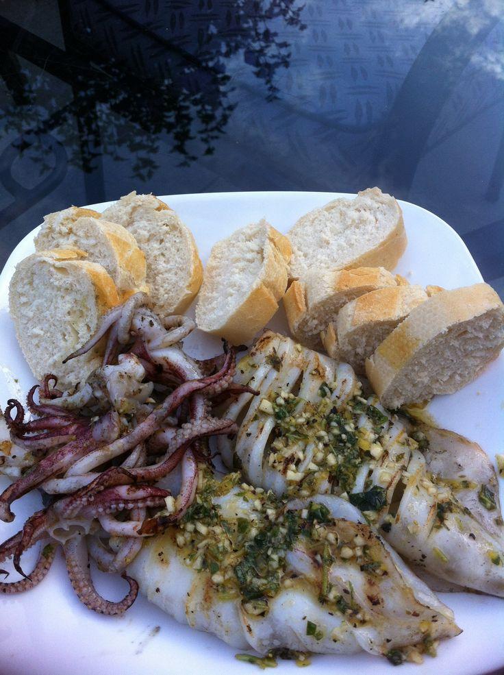 Fresh BBQ squid oregano lemon and garlic!