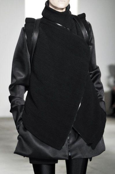 Unisex Tailoring - silky black jacket & vest; fashion  details // RAD by Rad Hourani Fall 2010