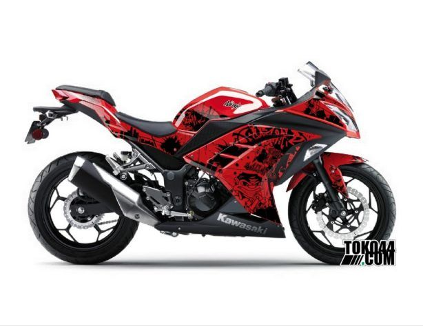 Decal Sticker Modifikasi Kawasaki Ninja 250 Fi Merah - Grafitti Red Black