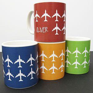 Personalised 'Plane' Mug In 40 Colours - mugs
