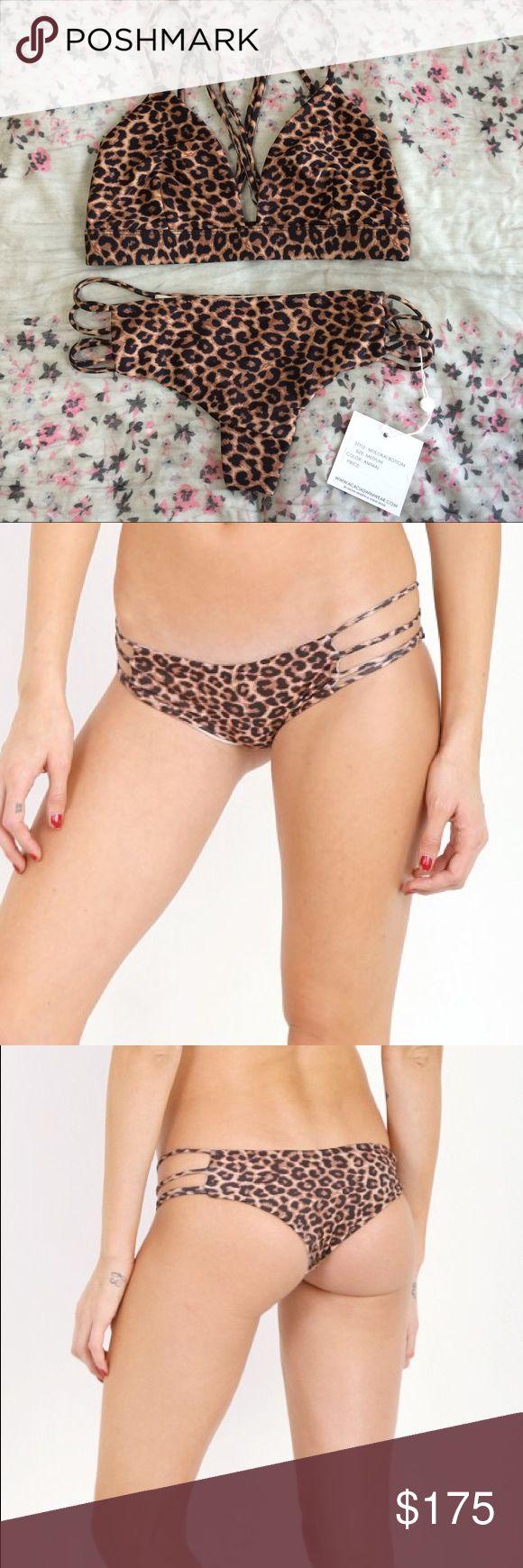 Acacia Swimwear Animal Leopard Bikini Set NWT Acacia Swimwear Molokai bottom in Animal, size medium. Matched with EUC Awapui top in Animal, also size medium. ✨Price reflects that Posh charges a 20% fee, will sell for less elsewhere acacia swimwear Swim Bikinis