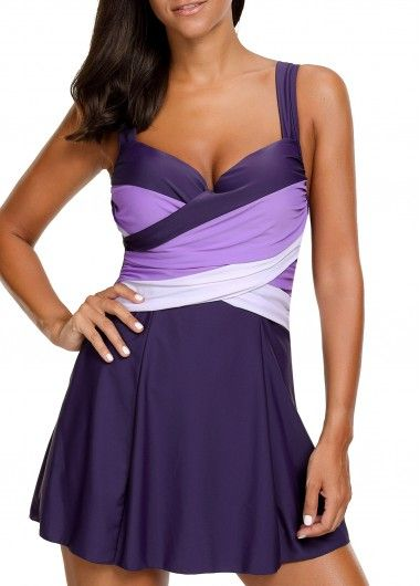 Purple Underwire Push Up Wrap swim dress. I'd like it just a regular dress with dark purple under both breasts for definition and uplift