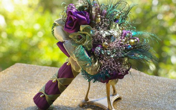 Peacock Feather Vintage Brooch Bridal Purple by jcmartanddesign, $150.00