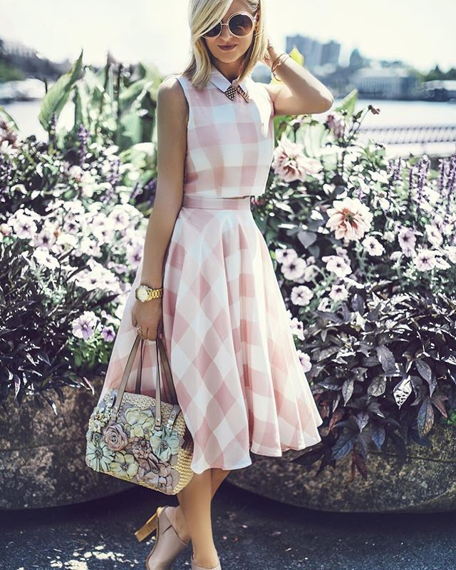 Check and Chic Cropped Top and Skirt Set - Tops - Retro, Indie and Unique Fashion