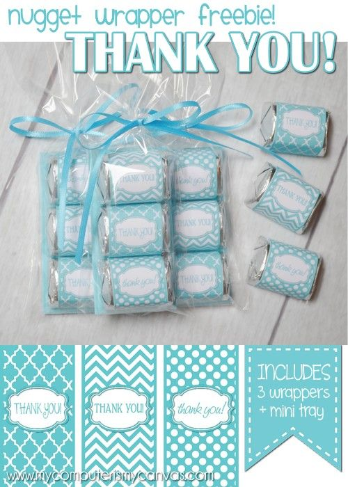 FREE Printable Thank You Hershey Nugget Wrappers - perfect for a shower, party or any time you need to say thank you. #chocolate #mycomputerismycanvas