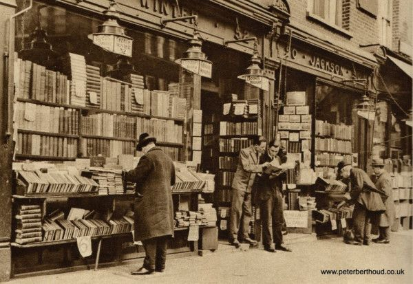 Charing Cross Road, London - bookshop in the 1920's! Would have loved to have shopped there.