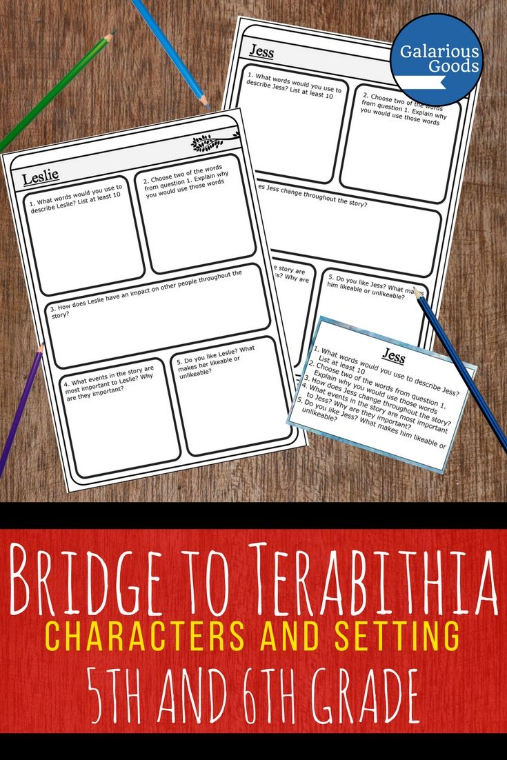 Your 5th Grade and 6th Grade students will take a close look at the characters and settings as they read Bridge to Terabithia by Katherine Paterson with this classroom resource. Teachers can explore who the characters are, what distinguishes them and what the author may think about them, while exploring how the settings add to the story #galariousgoods